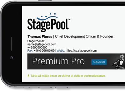 Office 365 signature with StagePool contact details and logo.