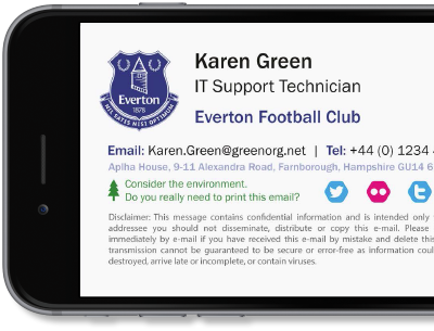 Exclaimer Cloud - Signatures for Office 365 manages Office 365 signatures for Everton F.C.
