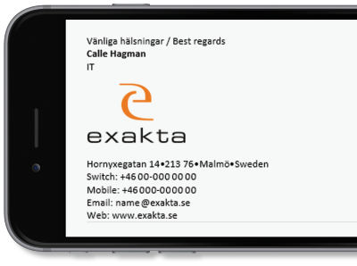 Exakta uses Exclaimer Cloud - Signatures Office 365 for its Office 365 signatures.