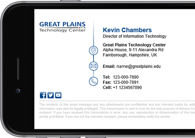 Great Plains Technology Centers Office 365 signature with full contact details.