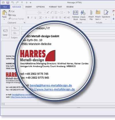 HARRES Metall-design using Signature Manager Exchange Edition
