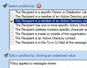 Create conditions and exceptions using the sender or recipient's Active Directory attributes