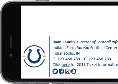 Indianapolis Colts Office 365 signature with full contact details.