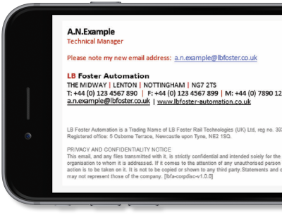 Exclaimer Cloud - Signatures for Office 365 was used L.B. Foster Automation's Office 365 signatures.