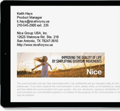 Nice Group USA, Inc. uses Exclaimer Cloud - Signatures Office 365 for its Office 365 signatures.