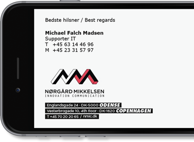 Nørgård Mikkelsen uses Exclaimer Cloud - Signatures Office 365 for its Office 365 signatures.