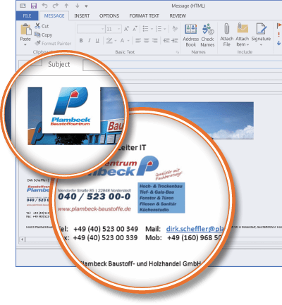 Baustoffcentrum Plambeck using Signature Manager Exchange Edition