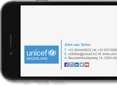 Exclaimer Cloud - Signatures for Office 365 managed UNICEF Nederland's Office 365 signatures.