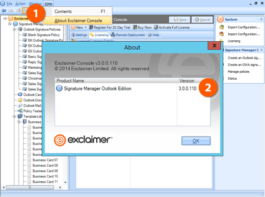 View Exclaimer product version number